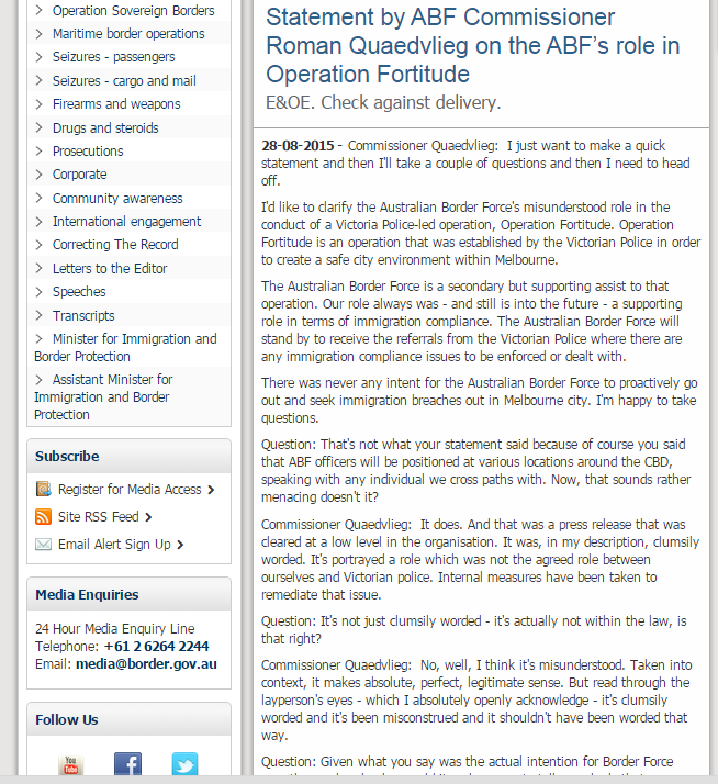 Australian Border Force press release re cancellation of Operation Fortitude