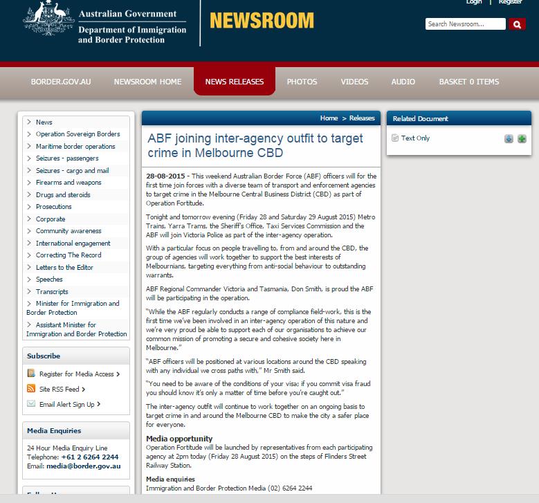 Australian Border Force Press Release re Operation Fortitude
